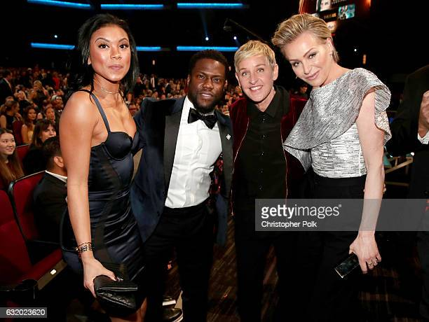 Eniko Parrish actor Kevin Hart TV personality Ellen DeGeneres and actress Portia de Rossi attend the People's Choice Awards 2017 at Microsoft Theater...