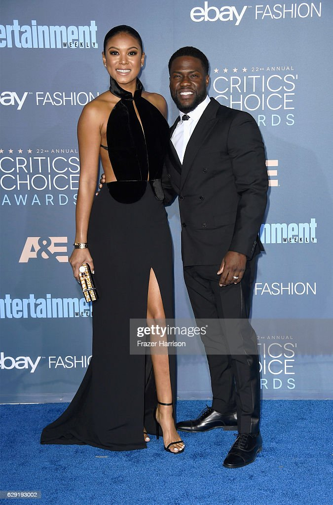 Eniko Parrish (L) and actor Kevin Hart attend The 22nd Annual Critics' Choice Awards at Barker Hangar on December 11, 2016 in Santa Monica, California.