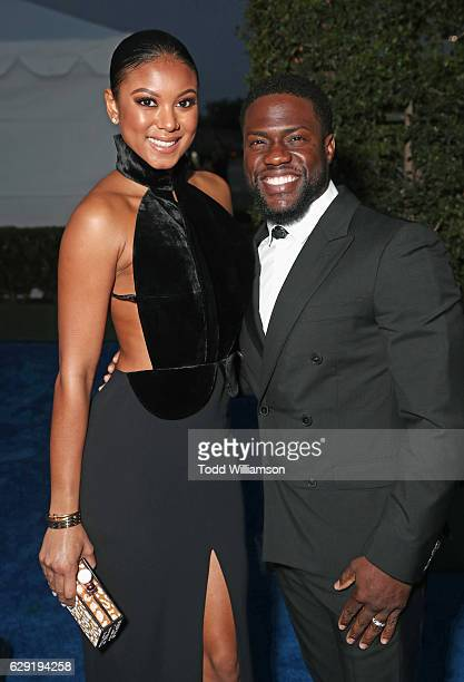 Eniko Parrish and actor Kevin Hart attend the 22nd annual Critics' Choice Awards with Porsche and the 2017 Panamera 4 EHybrid Executive at Barker...