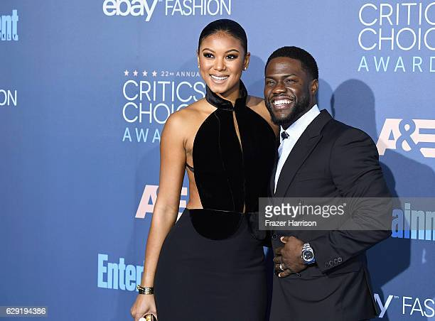 Eniko Parrish and actor Kevin Hart attend The 22nd Annual Critics' Choice Awards at Barker Hangar on December 11 2016 in Santa Monica California