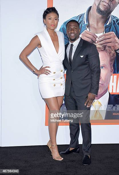 Eniko Parrish and actor Kevin Hart attend the premiere of Warner Bros Pictures' Get Hard at TCL Chinese Theatre IMAX on March 25 2015 in Hollywood...