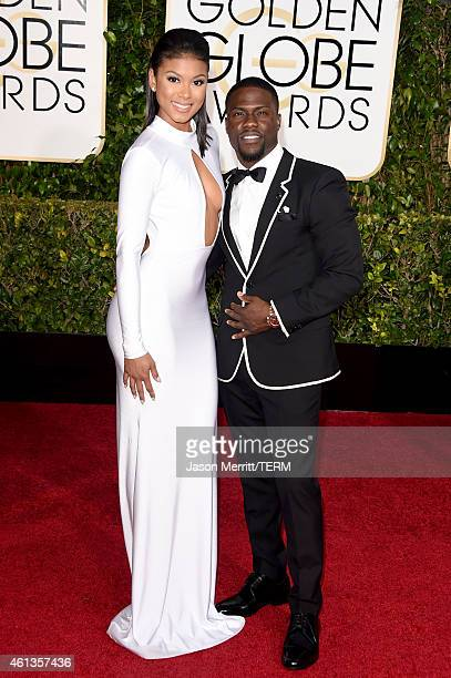 Eniko Parrish and actor/comedian Kevin Hart attend the 72nd Annual Golden Globe Awards at The Beverly Hilton Hotel on January 11 2015 in Beverly...