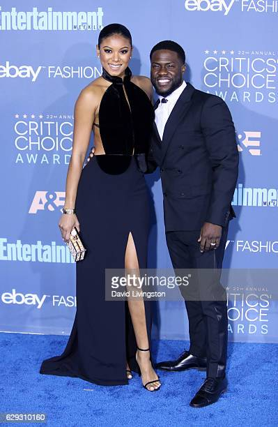 Eniko Parrish and comedian Kevin Hart attend the 22nd Annual Critics' Choice Awards at Barker Hangar on December 11 2016 in Santa Monica California