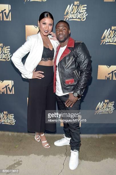 Eniko Parrish and Host Kevin Hart attends the 2016 MTV Movie Awards at Warner Bros Studios on April 9 2016 in Burbank California MTV Movie Awards...