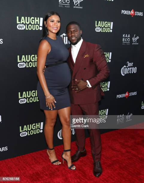 Eniko Parrish and Kevin Hart attend Kevin Hart And Jon Feltheimer Host Launch Of Laugh Out Loud at a Private Residence on August 3 2017 in Beverly...