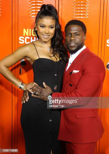 Eniko Parrish and Kevin Hart attend the Los Angeles premiere of Universal Pictures' Night School held at Regal Cinemas LA LIVE Stadium 14 on...