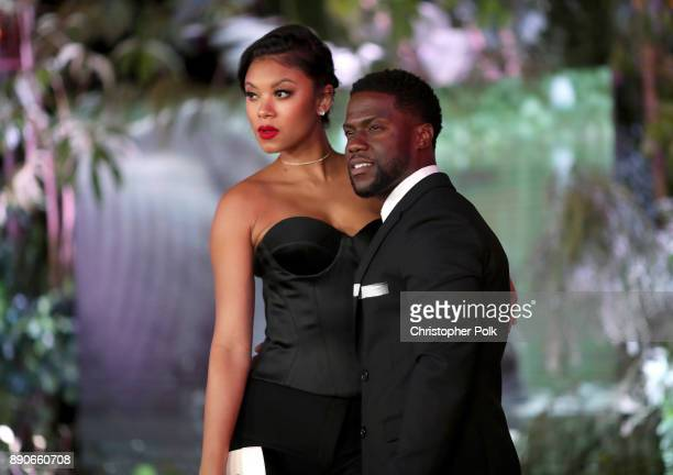 Eniko Parrish and Kevin Hart attend the premiere of Columbia Pictures' Jumanji Welcome To The Jungle on December 11 2017 in Hollywood California