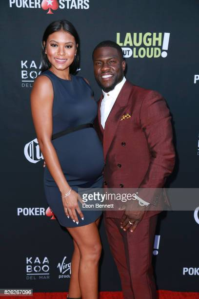 Eniko Parrish and Kevin Hart attends the Kevin Hart and Jon Feltheimer Host Launch Of Laugh Out Loud at Private Residence on August 3 2017 in Beverly...