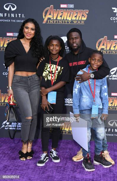 Eniko Parrish, Heaven Hart, Kevin Hart, and Hendrix Hart attend the premiere of Disney and Marvel's 'Avengers: Infinity War' on April 23, 2018 in Los...