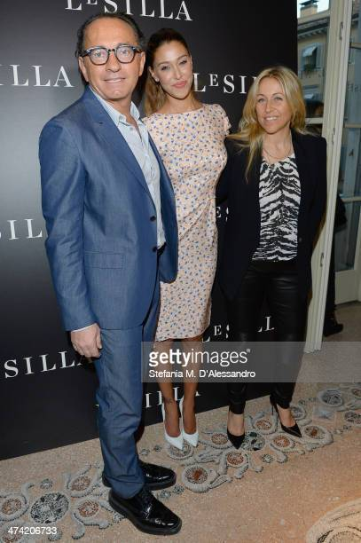 Enio Silla Belen Rodriguez and Monica Ciabattini attend the Le Silla Fall/Winter 201415 Collection Presentation as part of Milan Fashion Week...