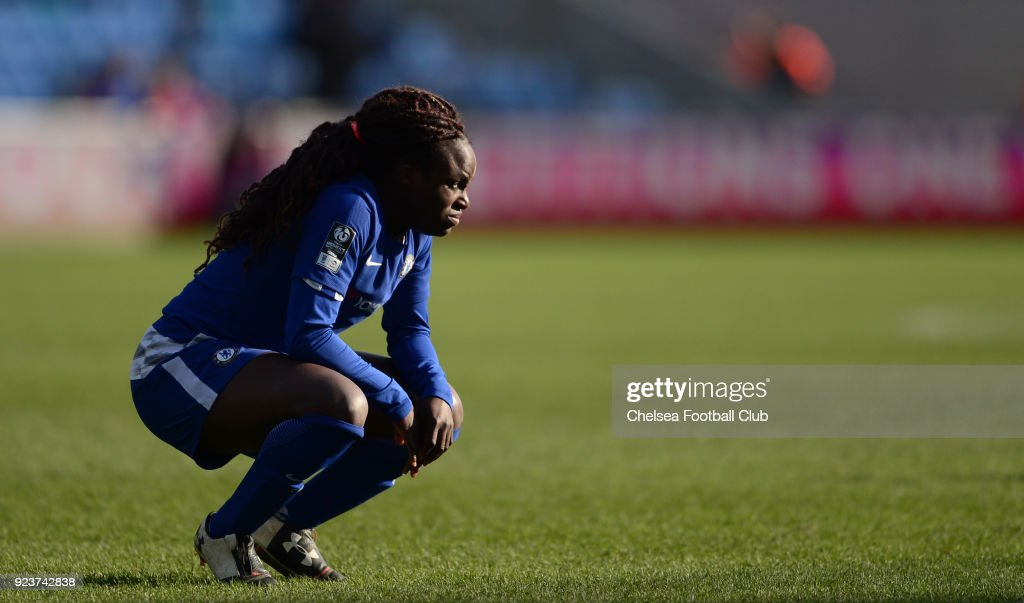 Eniola Aluko during a WSL match between Chelsea Ladies and Manchester City Women at the Academy Stadium on February 24, 2018 in Manchester, England.