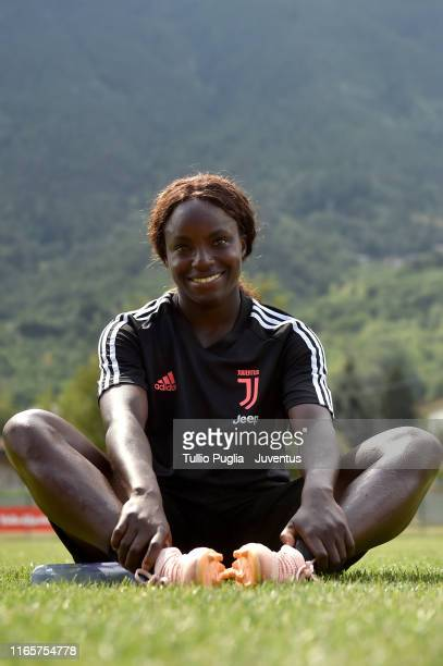 Eniola Aluko looks on during a Juventus Women training session at Campo Sportivo Aymavilles on August 02 2019 in Aymavilles near Aosta Italy