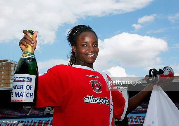 Eniola Aluko of Charlton celebrates winning player of the match and winning the Women's FA Cup Final match between Charlton and Everton at Upton Park...