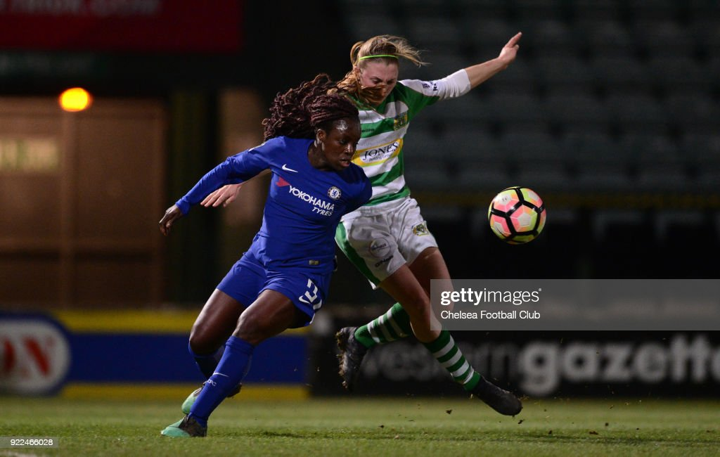 Eniola Aluko of Chelsea battles for the ball during a WSL match between Chelsea and Yeovil Town Ladies at Huish Park on February 21, 2018 in Yeovil, England.