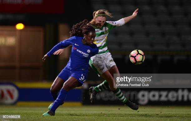 Eniola Aluko of Chelsea battles for the ball during a WSL match between Chelsea and Yeovil Town Ladies at Huish Park on February 21 2018 in Yeovil...