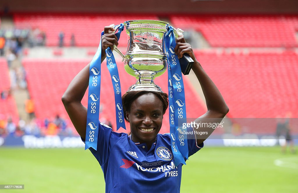 Eniola Aluko of Chelsea celebrates after their victory during the Women's FA Cup Final match between Chelsea Ladies FC and Notts County Ladies at Wembley Stadium on August 1, 2015 in London, England.