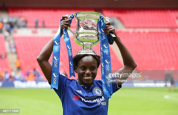 Eniola Aluko of Chelsea celebrates after their victory during the Women's FA Cup Final match between Chelsea Ladies FC and Notts County Ladies at...
