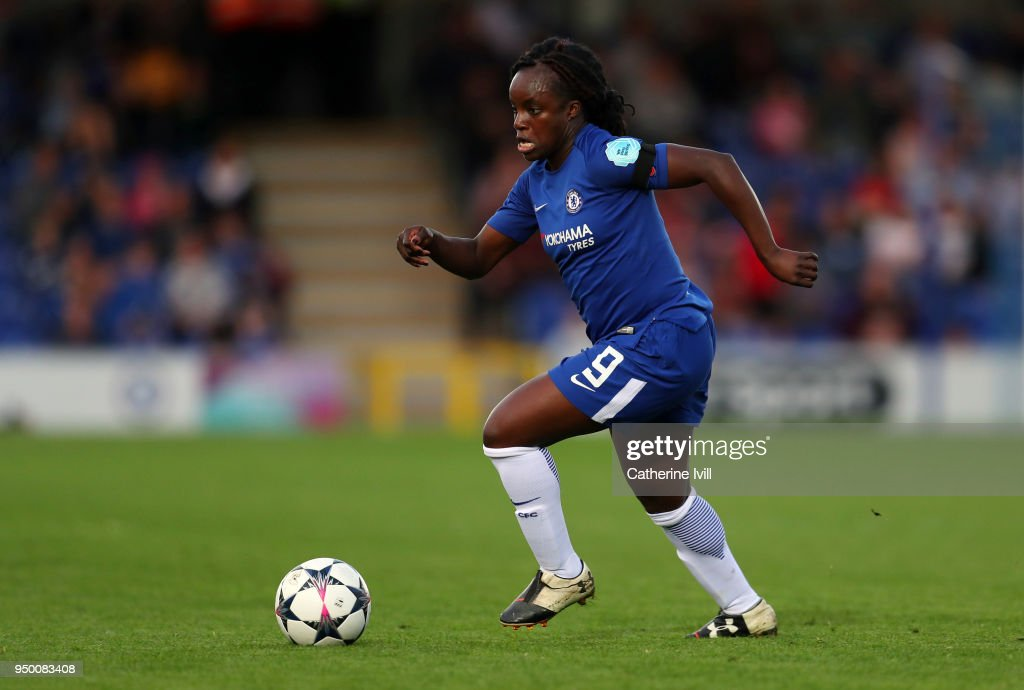 Eniola Aluko of Chelsea during the UEFA Womens Champions League Semi-Final: First Leg between Chelsea Ladies and Wolfsburg at The Cherry Red Records Stadium on April 22, 2018 in Kingston upon Thames, England.