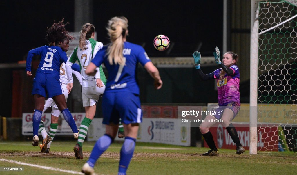 Eniola Aluko of Chelsea heads the ball towards goal during a WSL match between Chelsea and Yeovil Town Ladies at Huish Park on February 21, 2018 in Yeovil, England.