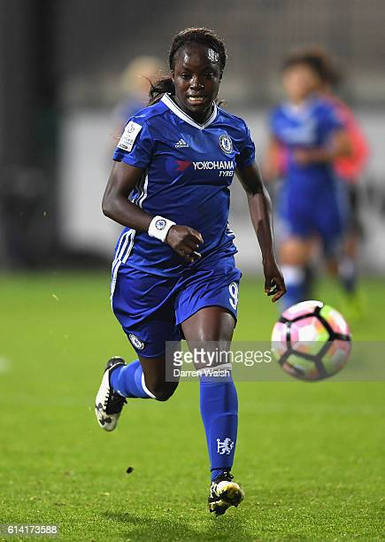 Eniola Aluko of Chelsea in action during the UEFA Womens Champions League match between VFL Wolfsburg and Chelsea Ladies at AOK Stadion on October 12...