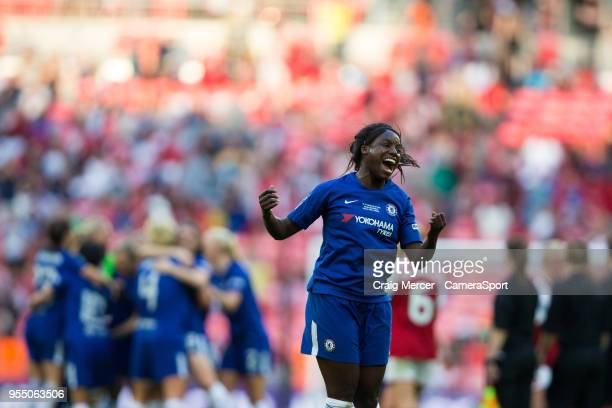 Eniola Aluko of Chelsea Ladies celebrates her side's victory after the SSE Women's FA Cup Final match between Arsenal Women and Chelsea Ladies at...