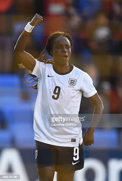 Eniola Aluko of England celebrates the second goal during the Women's World Cup Group Six Qulifier between England and Ukraine at Greenhous Meadow on...