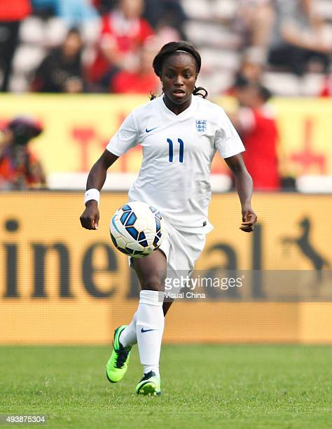 Eniola Aluko of England drives the ball in the match between China and England during the 2015 Yongchuan Women's Football International Matches at...