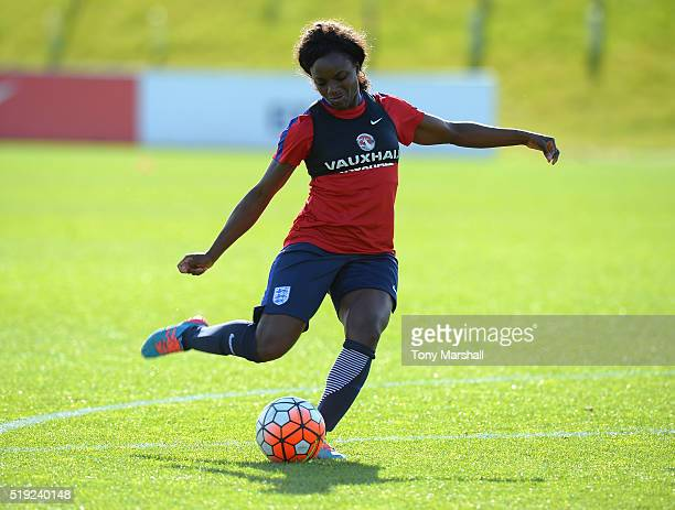 Eniola Aluko of England during the England Women Training Session at St Georges Park on April 5 2016 in BurtonuponTrent England