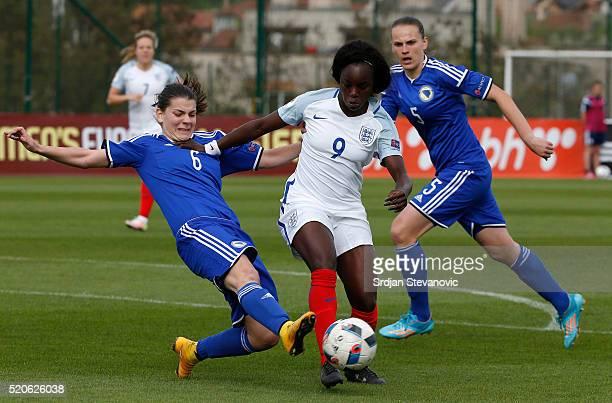 Eniola Aluko of England in action against Marija Aleksic of Bosnia during the UEFA Women's European Championship Qualifier at FF BIH Football...