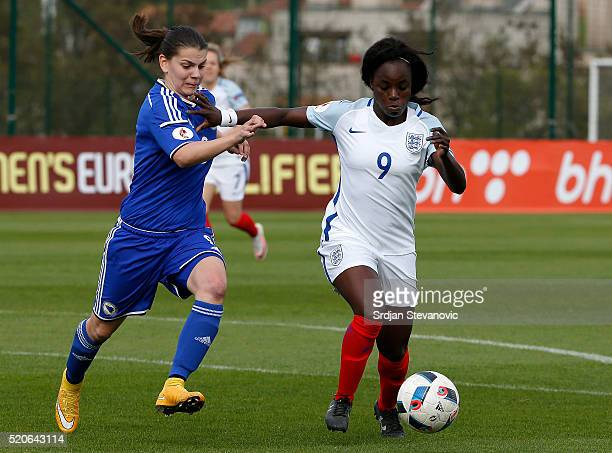 Eniola Aluko of England in action against Melisa Hasanbegovic of Bosnia during the UEFA Women's European Championship Qualifier match between Bosnia...