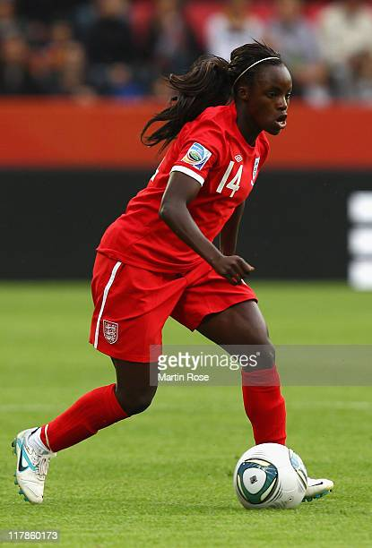 Eniola Aluko of England runs with the ball during the FIFA Women's World Cup 2011 Group B match between New Zealand and England at...