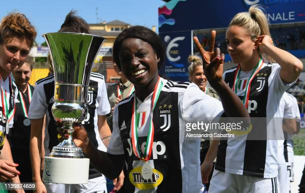 Eniola Aluko of Juventus Woman celebrates the victory with the trophy after the Women Coppa Italia Final match between Juventus Women and ACF...