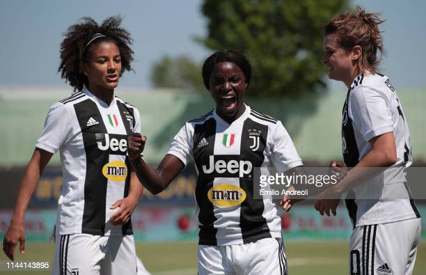 Eniola Aluko of Juventus Women celebrates his goal with her teammate Cristiana Girelli and Sara Gama during the Women Serie A match between Hellas...