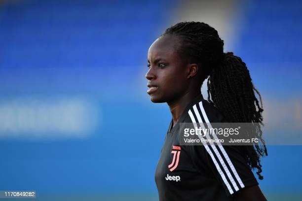 Eniola Aluko of Juventus Women looks on during a Juventus Women training session at Estadi Johan Cruyff on September 24 2019 in Barcelona Spain