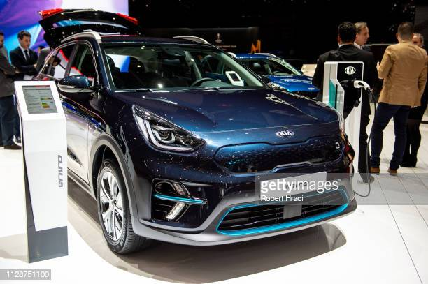 E-Niro is displayed during the first press day at the 89th Geneva International Motor Show on March 5, 2019 in Geneva, Switzerland.