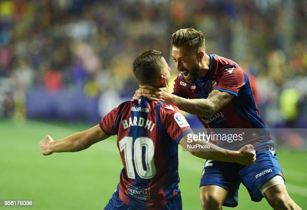 Enis Bardhi and Antonio Luna of Levante UD celebrates a goal during the La Liga match between Levante and FC Barcelona at Ciutat de Valencia Stadium...