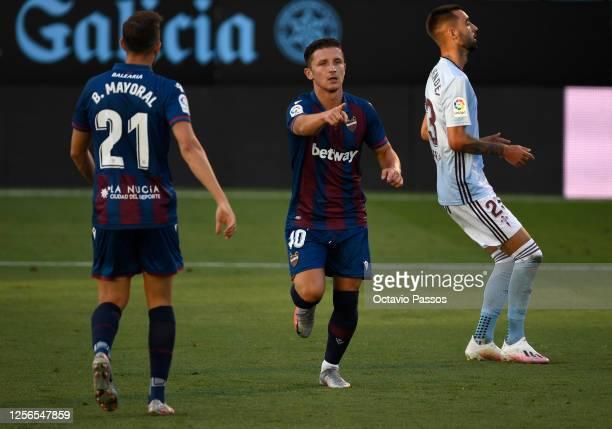 Enis Bardhi of Levante celebrates scoring the first goal during the Liga match between RC Celta de Vigo and Levante UD at Abanca-Balaídos on July 16,...