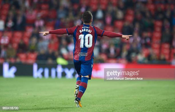 Enis Bardhi of Levante UD celebrates after scoring during the La Liga match between Athletic Club and Levante at Estadio San Mames on April 23 2018...