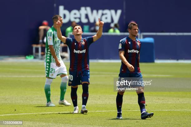 Enis Bardhi of Levante UD celebrates after scoring his sides second goal during the La Liga match between Levante UD and Real Betis Balompie at...