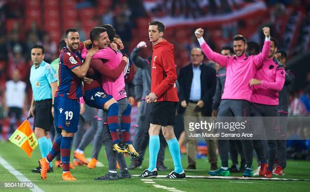 Enis Bardhi of Levante UD celebrates after scoring the second goal of Levante UD during the La Liga match between Athletic Club and Levante at...