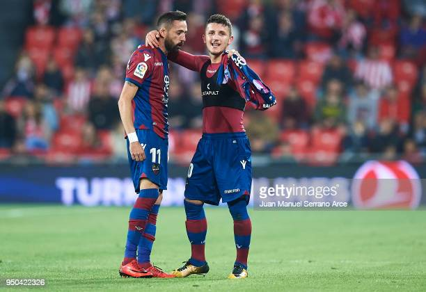 Enis Bardhi of Levante UD celebrates after scoring the second goal of Levante UD with his team mate Jose Luis Morales of Levante UD during the La...