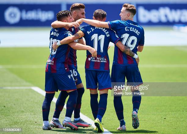 Enis Bardhi of Levante UD celebrates scoring his team's goal during the Liga match between Levante UD and Real Betis Balompie at Ciutat Deportiva...