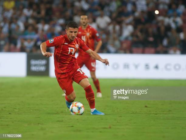 Enis Bardhi of North Macedonia controls the ball during the UEFA Euro 2020 Qualifier match between Israel and North Macedonia at Turner-Stadion on...