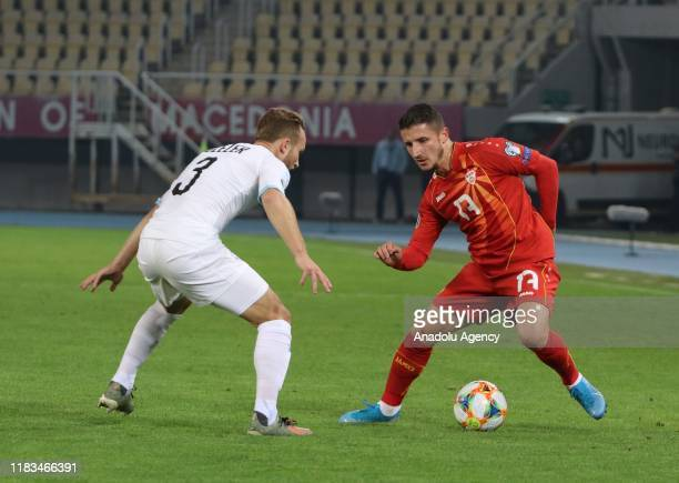 Enis Bardhi of North Macedonia in action during UEFA Euro 2020 qualifying match between North Macedonia and Israel at Todor Proeski Stadium in...
