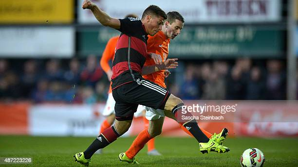 Enis Bunjaki of Germany battles for the ball during the U19 international friendly match between Netherlands and Germany on September 7, 2015 in...