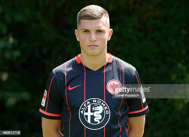 Enis Bunjaki poses during the Eintracht Frankfurt team presentation on July 15 2015 in Frankfurt am Main Germany