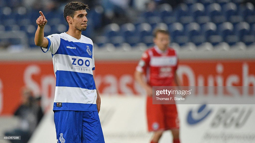 Enis Hajri of Duisburg reacts during the Third League match between MSV Duisburg and Arminia Bielefeld at Schauinsland-Reisen-Arena on August 27, 2014 in Duisburg, Germany.