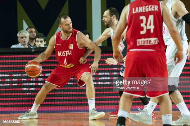 Enis Murati of Austria drives the ball during the FIBA Basketball World Cup Qualifier match between Georgia and Austria at Tbilisi Sports Palace on...