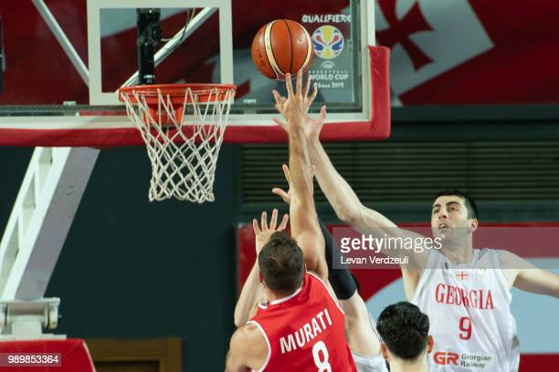 Enis Murati of Austria shoots the ball during the FIBA Basketball World Cup Qualifier match between Georgia and Austria at Tbilisi Sports Palace on...