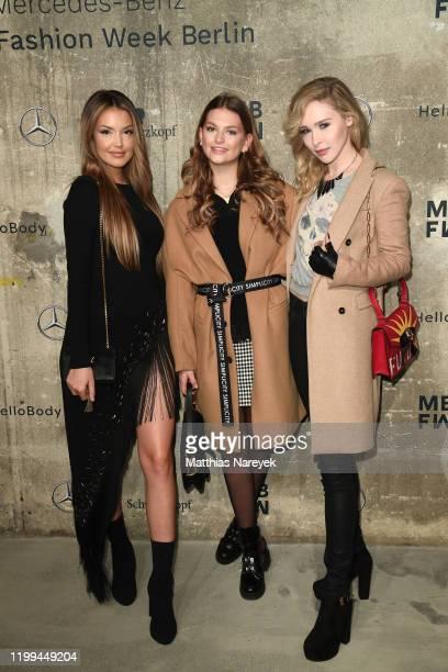Enisa Bukvic Alicia Fischer and Theresia Fischer attend the Irene Luft show during Berlin Fashion Week Autumn/Winter 2020 at Kraftwerk Mitte on...